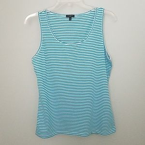 Talbots Tops - Talbots Blue White Striped Tank Size Med Petite